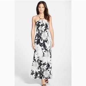 NWT Trina Turk Floral Black and White Maxi Dress